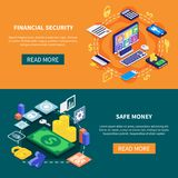 Financial Security Banners. Financial security and safe money transaction isometric banners 3d isolated vector illustration Stock Image