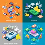 Financial 2x2 Isometric Concept. Financial security and safe money transaction 2x2 isometric concept isolated on colorful backgrounds 3d vector illustration Royalty Free Stock Image