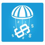 Financial security. Symbol in blue background Royalty Free Stock Images