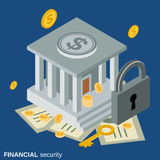 Financial security vector concept. Financial security flat isometric vector concept illustration Royalty Free Stock Images
