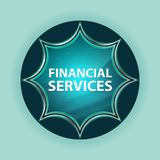 Financial Services magical glassy sunburst blue button sky blue background royalty free stock images