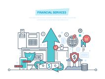 Financial services. Online banking, protection, payment security, analysis deposits, investment. Financial services. Bank, online banking, protection, payment Royalty Free Stock Images