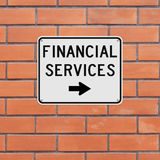 Financial Services. A road sign indicating Financial Services Stock Image