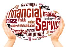 Financial Services word cloud hand sphere concept. On white background royalty free stock photos