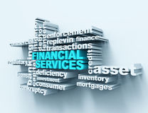 Financial services wordclouds. 3d render Stock Images