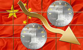 Financial shares China. Chinese currency Yuan coins and golden shares arrow pointing down. Business concept about financial crisi,failure and debit, bankruptcy vector illustration