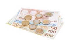 Financial signs: centimes, the Euro-banknotes. Stock Image