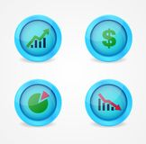 Financial signs on glossy icons. Vector icons Stock Photo