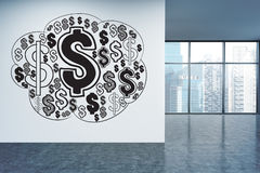 Financial sketch in office. Financial growth concept with dollar sign sketch on office wall with Singapore city view. 3D Rendering Royalty Free Stock Image