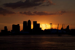 Sunset in financial district of London,England Royalty Free Stock Image