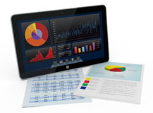 Financial software. One tablet pc with a financial software and paper worksheets (3d render Stock Photos