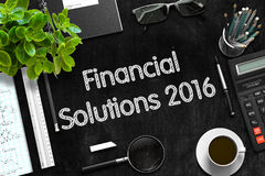 Financial Solutions 2016 on Black Chalkboard. 3D Rendering. Stock Photos