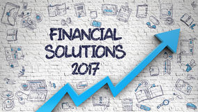 Financial Solutions 2017 Drawn on Brick Wall. Financial Solutions 2017 - Enhancement Concept with Doodle Design Icons Around on the White Brick Wall Background Stock Photography