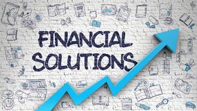 Financial Solutions Drawn on White Wall. Financial Solutions Drawn on Brick Wall. Illustration with Hand Drawn Icons. White Wall with Financial Solutions Royalty Free Stock Images