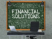 Financial Solutions - Hand Drawn on Green Chalkboard. 3D. Financial Solutions - Hand Drawn on Green Chalkboard in Modern Office Workplace. Illustration with Royalty Free Stock Photos