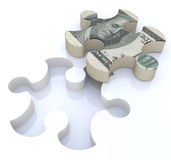Financial solutions puzzle. In the design of information related to economics and finance Stock Image