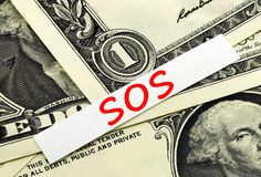 Financial SOS. As a symbol Stock Photos