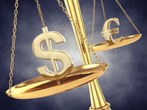 Financial speculation. Dollar and euro signs on a brass scale , 3d illustration Stock Photos