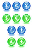 Financial spheres. Set of vector spheres with shadow icons for businesss themes. Easy to edit, any size. Aqua web 2.0 Royalty Free Stock Photography