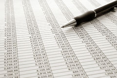 Financial Spreadsheet and Ballpoint Ink Pen Royalty Free Stock Images
