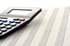 Financial spreadsheet with Columns of Numbers stock photos