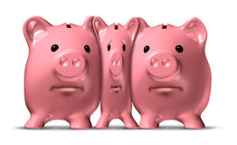 Financial Squeeze. And credit crunch represented by a squished and narrow piggy bank under pressure from bigger pigs as a ceramic icon of savings symbol that is Stock Photography