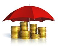 Financial stability, success and insurance concept. Financial stability, business success and insurance concept: stacked golden coins covered by red umbrella Stock Images
