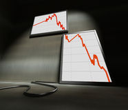 Financial stat 3d. Fine 3d image of decresing financial diagram Stock Image