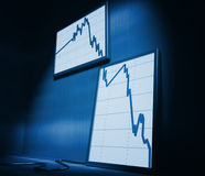 Financial stat decrease. 3d image of lcd on wall showing decrease financial stat Stock Photos