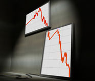 Financial stat decrease. 3d image of lcd on wall showing decrease financial stat Royalty Free Stock Photos