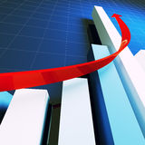 Financial stat and red arrow. Financial business stat and red arrow 3d Stock Image
