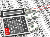 Financial statement. With calculator and dollars Stock Photos