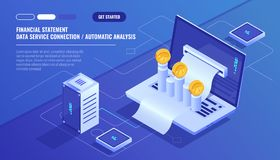 Financial statement, analysis and statistic online servises, laptop with payment schedule, money cash accounting. Isometric vector technology Stock Image
