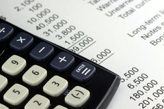Financial Statement. Financial budget statement with calculator Royalty Free Stock Photo