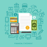 Financial Statement Conceptual Flat Style. Vector Illustration. Can Be Used For Workflow Layout Template, Banner, Diagram, Number Options, Web Design Stock Photo
