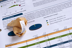 Financial Statement with Fortune Cookie. Theme is luck in investments Royalty Free Stock Image