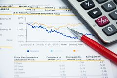 Financial statement read and check the number for analysis. With red pen royalty free stock images