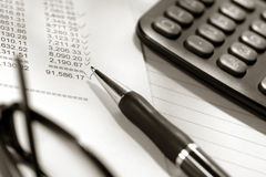 Financial Statement Spreadsheet with Calculator Stock Photography