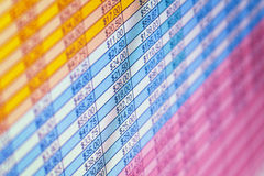 Financial statements on monitor close-up Stock Photos