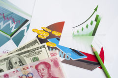 Financial statements, Painted Figure Royalty Free Stock Photo
