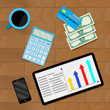 Financial statistic and count. Vector analytics business and accounting illustration Stock Image