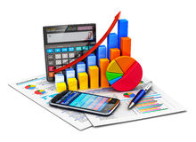 Financial statistics and accounting concept. Creative abstract business financial success, tax and accounting, statistics and analytic research concept: office Stock Photos