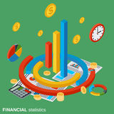 Financial statistics, business analytics vector concept. Financial statistics, business analytics flat isometric vector concept Stock Images