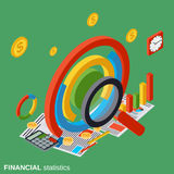 Financial statistics, business analytics vector concept. Financial statistics, business analytics flat isometric vector concept Royalty Free Stock Image