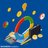 Financial statistics, business report, market trends analysis vector concept. Financial statistics, business report, market trends analysis flat isometric vector Royalty Free Stock Image