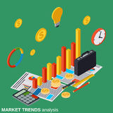 Financial statistics, business report, modern infographic, trends analysis. Vector concept Stock Image