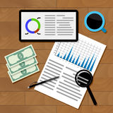 Financial statistics concept. Chart and infograph, statistical graphic, vector illustration Royalty Free Stock Image