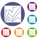 Financial statistics icons set. In flat circle reb, blue and green color for web Royalty Free Stock Photos