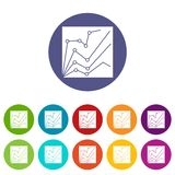 Financial statistics set icons. In different colors isolated on white background Royalty Free Stock Photo