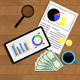 Financial statistics top view. Diagram data financial, table wood and analyzing finance. Vector illustration Royalty Free Stock Image